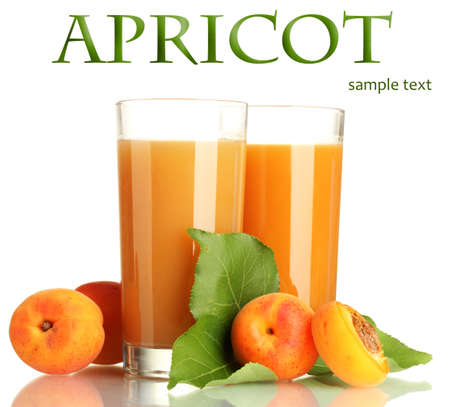 Two glasses of apricot juice and apricots with leaves isolated on white Stock Photo - 19510761
