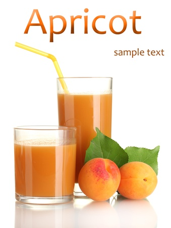 Two glasses of apricot juice and apricots with leaf isolated on white Stock Photo - 19510727