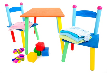 Small and colorful table and chairs for little kids isolated on white Stock Photo - 19510736