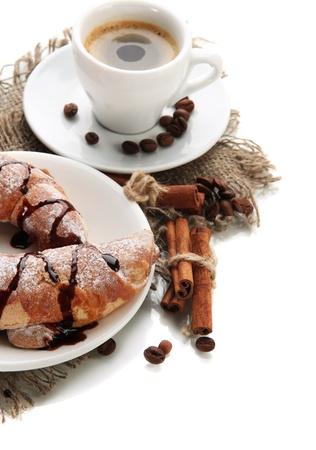 Light tasty breakfast, isolated on white  photo
