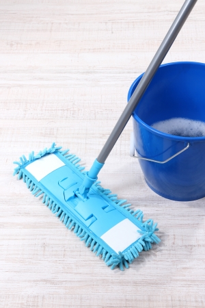 Washing the floor and all floor cleaning Stock Photo