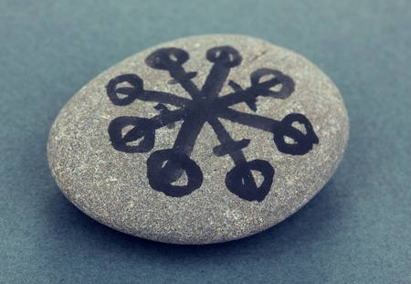 Fortune telling  with symbols on stone on grey background Stock Photo - 19654746