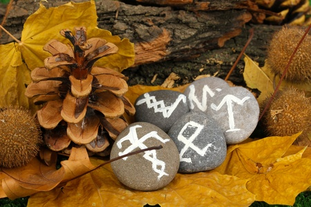 Fortune telling  with symbols on stones close up Stock Photo - 19655086