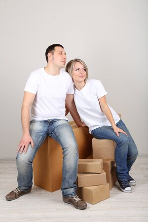Young couple moving in new house Stock Photo - 21522813