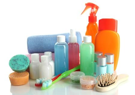 Hotel cosmetics kit isolated on white photo