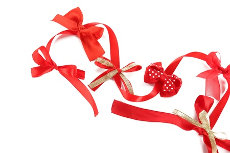 favours: Various bows isolated on white Stock Photo