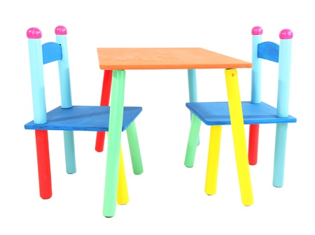 Small and colorful table and chairs for little kids isolated on white Stock Photo - 19763244