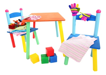 Small and colorful table and chairs for little kids isolated on white Stock Photo - 19763198