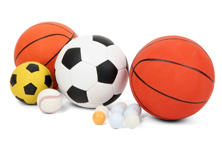 traditional sport: Different balls, isolated on white