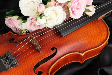 Classical violin on fabric background photo