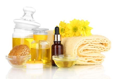 humidify: Fragrant honey spa with oils and honey isolated on white