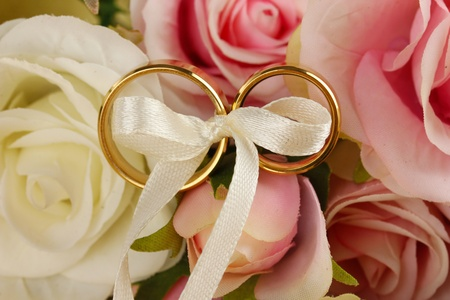 Wedding rings tied with ribbon on rose background photo