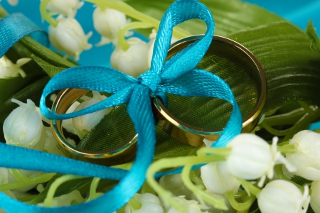 Wedding rings tied with ribbon on flower background photo