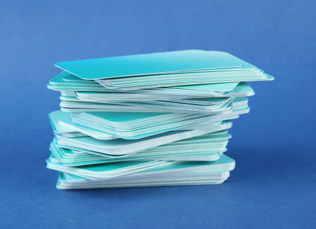 businesscard: Stack of business cards, on color background