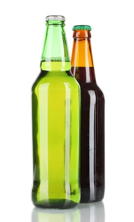 Bottles of beer isolated on white photo