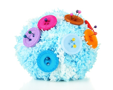 Colorful buttons and wool ball, isolated on white photo