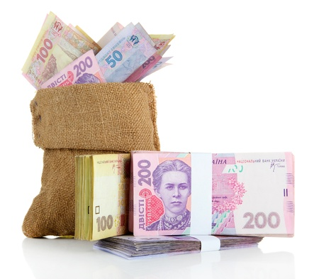 hryvna: Burlap bag with Ukrainian money, isolated on white Stock Photo