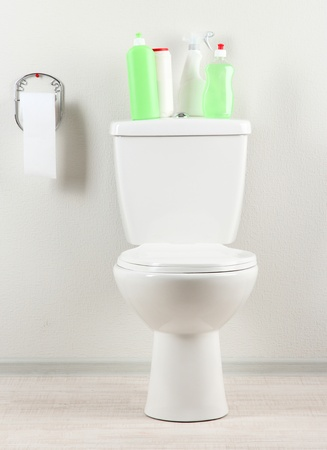 White toilet bowl and  cleaning supplies in a bathroom Stock Photo - 19769880