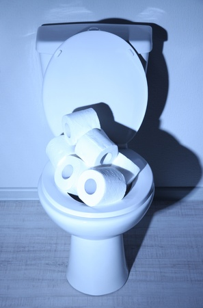 Toilet bowl and toilet paper in a bathroom with blue light photo