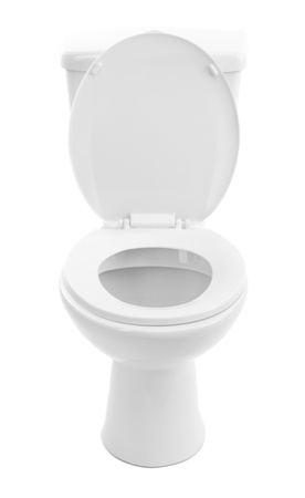 White toilet bowl, isolated on white photo