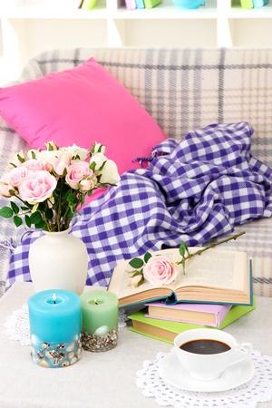 violet residential: Close up on trendy modern living room