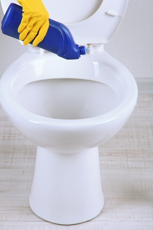Woman hand with spray bottle cleaning a toilet bowl in a bathroom Stock Photo - 19772162