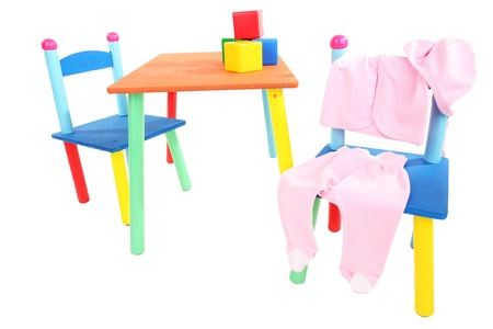 Small and colorful table and chairs for little kids isolated on white Stock Photo - 19784649