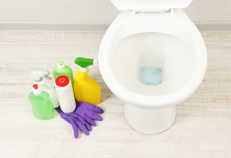 White toilet bowl and  cleaning supplies in a bathroom Stock Photo - 19784629