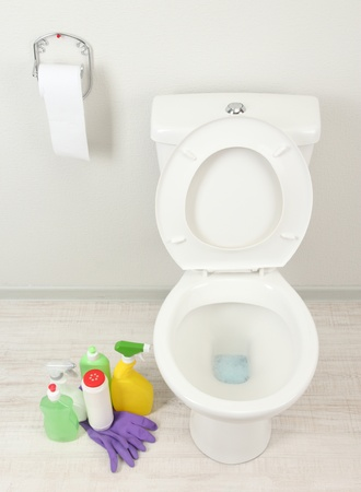 White toilet bowl and  cleaning supplies in a bathroom photo