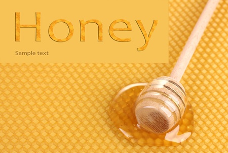 Yellow beautiful honeycomb and wooden honey dipper with honey   photo