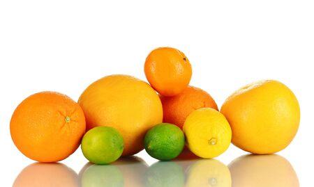 Lots ripe citrus isolated on white photo