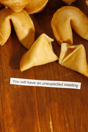 Fortune cookies on wooden table Stock Photo