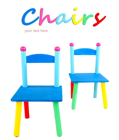 Small and colorful chairs for little kids isolated on white Stock Photo - 19972136