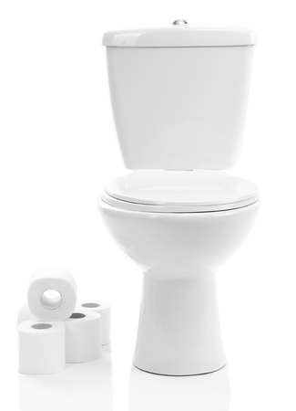 White toilet bowl with toilet paper, isolated on white photo