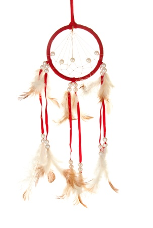 Beautiful dream catcher, isolated on white photo