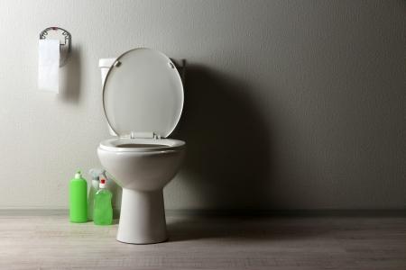 Blanco taza del ba�o y productos de limpieza en un ba�o photo