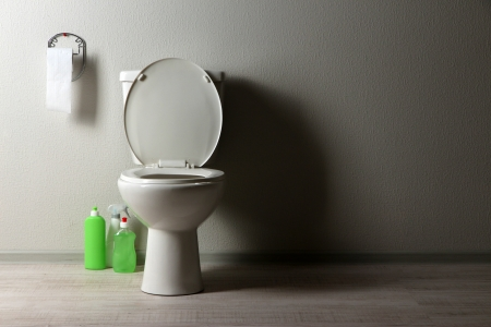 toilet paper: White toilet bowl and  cleaning supplies in a bathroom Stock Photo