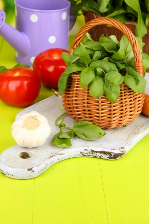 wood sorrel: Fresh herb in basket on wooden table on natural background Stock Photo