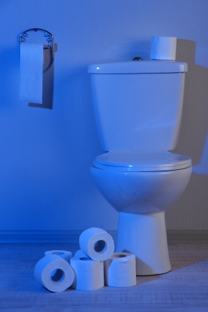 Toilet bowl and toilet paper in a bathroom with blue light Stock Photo - 20155733