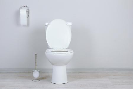 papel higienico: Inodoro blanco en un cuarto de ba�o Foto de archivo