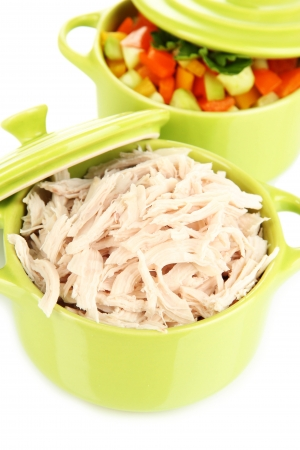 Shredded boiled chicken in green pan close up photo