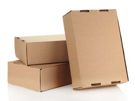 Parcels boxes, isolated on white photo