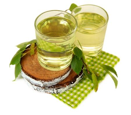 Glasses of birch sap, isolated on white Reklamní fotografie