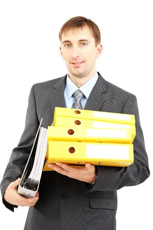 Young businessman with folders isolated on white  photo