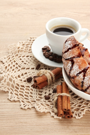 Light tasty breakfast, on wooden table photo