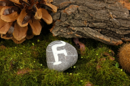 Fortune telling  with symbols on stone close up Stock Photo - 20210107