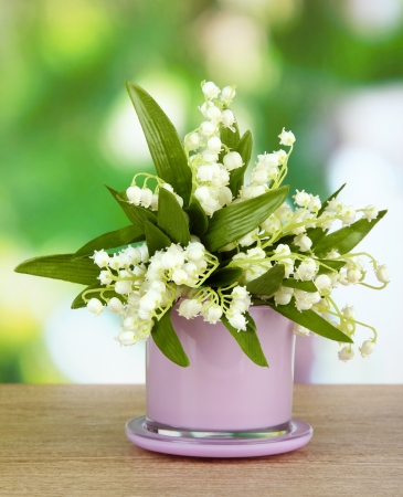 Beautiful Lily Of The Valley In Vase On Nature Background Stock
