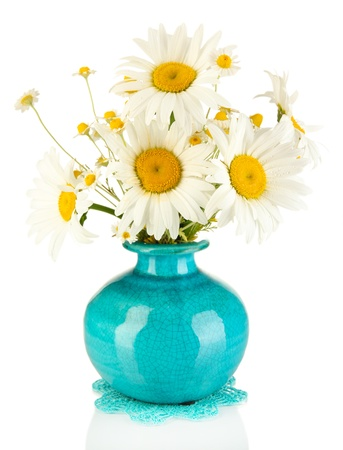 amorousness: Beautiful bouquet chamomiles in vase isolated on white
