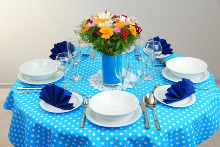 roundtable: Beautiful table setting for breakfast Stock Photo