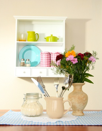 Kitchen composition on table on shelf background Stock Photo - 20502910